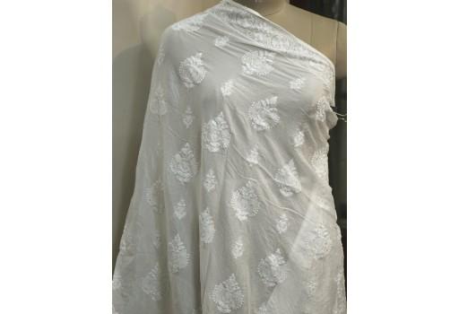 Dyeable White Indian Chikankari Embroidered Punjabi Dupatta Lehenga Embroidery Wedding Veil Chikan Women Scarf Stole Wraps Head Scarves Gift