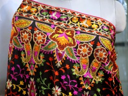 Indian Embroidered Georgette Wedding Dupatta Long Dupatta Chuni Bridal Veil Lehenga Embroidery Stoles Scarfs P..