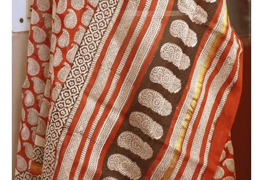 Indian Hand Block Print Chanderi Cotton Scarves Dupatta Handmade Pareo Printed Bikini Cover Beach Sarong Women Summer Wear Beach Coverup