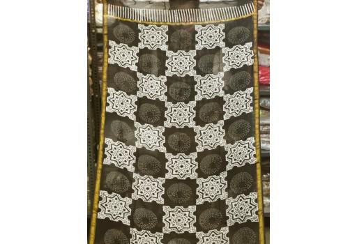 Black Indian Hand Block Print Chanderi Cotton Scarves Dupatta Handmade Pareo Printed Bikini Cover Sarong Women Summer Wear Beach Coverup