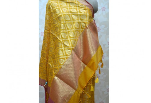 Long Silk Scarf Gifts for Her Women Stoles Christmas Gifts Brocade Dupatta