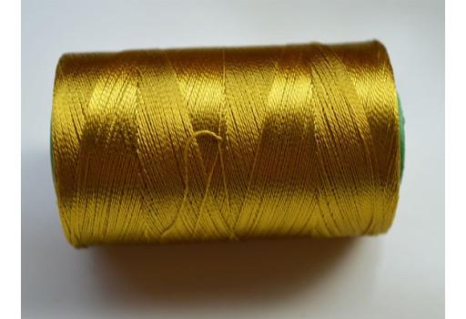 Corn Yellow Silk Thread Spool Art Silk Thread Hand And Machine Embroidery Thread