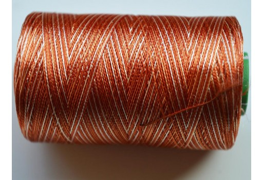 Burnt Orange and Ivory Silk Thread Spool Art Silk Thread