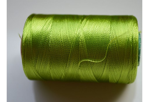 Lime Green Thread Spool Art Silk Thread Hand And Machine Embroidery Thread
