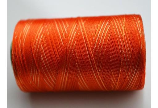 Orange and Ivory Shaded Silk Thread Spool Art Silk Thread
