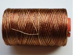 Golden Brown and Ivory Color Silk Thread Spool Art Silk Thread