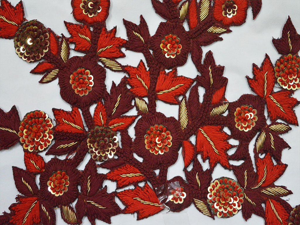 Deep Maroon Decorative Sewing Indian Embroidered Applique