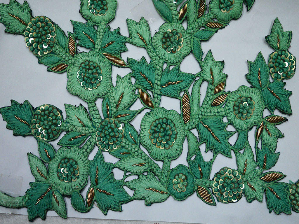 Sea Green Embroidered Applique For Fancy Dresses