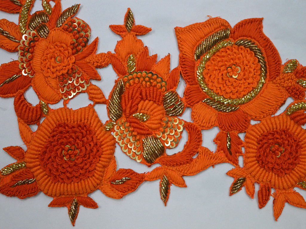 Orange Handmade Embroidered Indian Sewing Decorative Floral Thread Applique