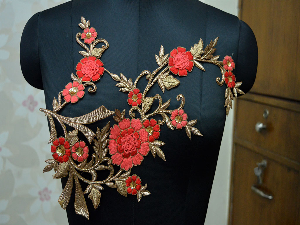 Fashion blogger stylish embellishments 1 pieces exclusive decorative zardozi collar neck patch indian costume embroidered applique crafting emblishment boutique supplies neckline patches