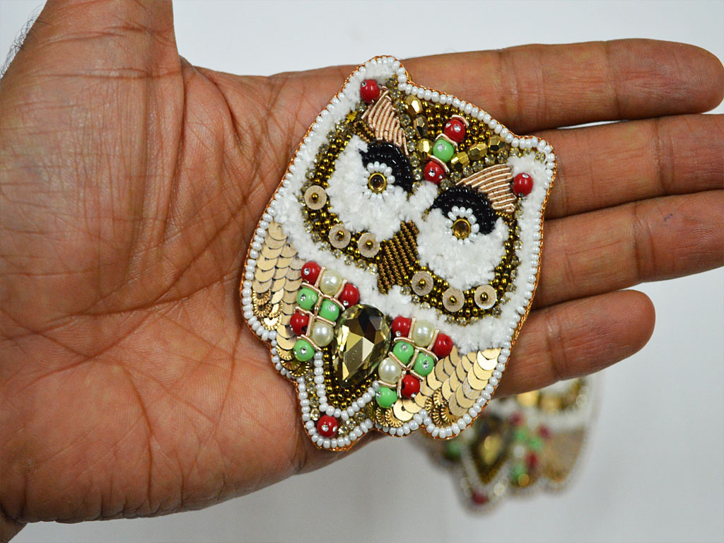 Owl Embroidered Indian Sewing Decorative Thread Applique White Handmade Patches Dresses Patches Appliques Crafting Supply Beaded Patches For Dresses