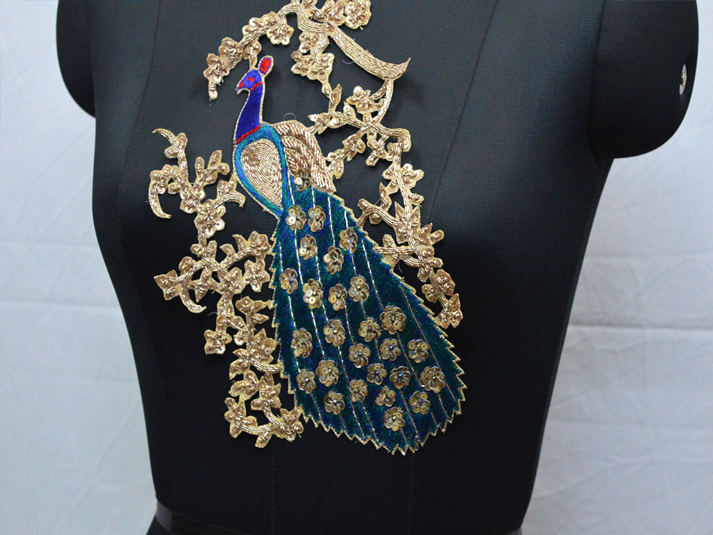 Peacock design embroidered christmas supplies applique wedding dress scrap booking headband wears embellishments for expensive stylish dresses