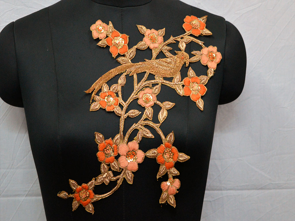 Decorative thread work embroidered christmas supplies orange and gold colour extremely beautiful floral design appliques for making designing stylish skirts