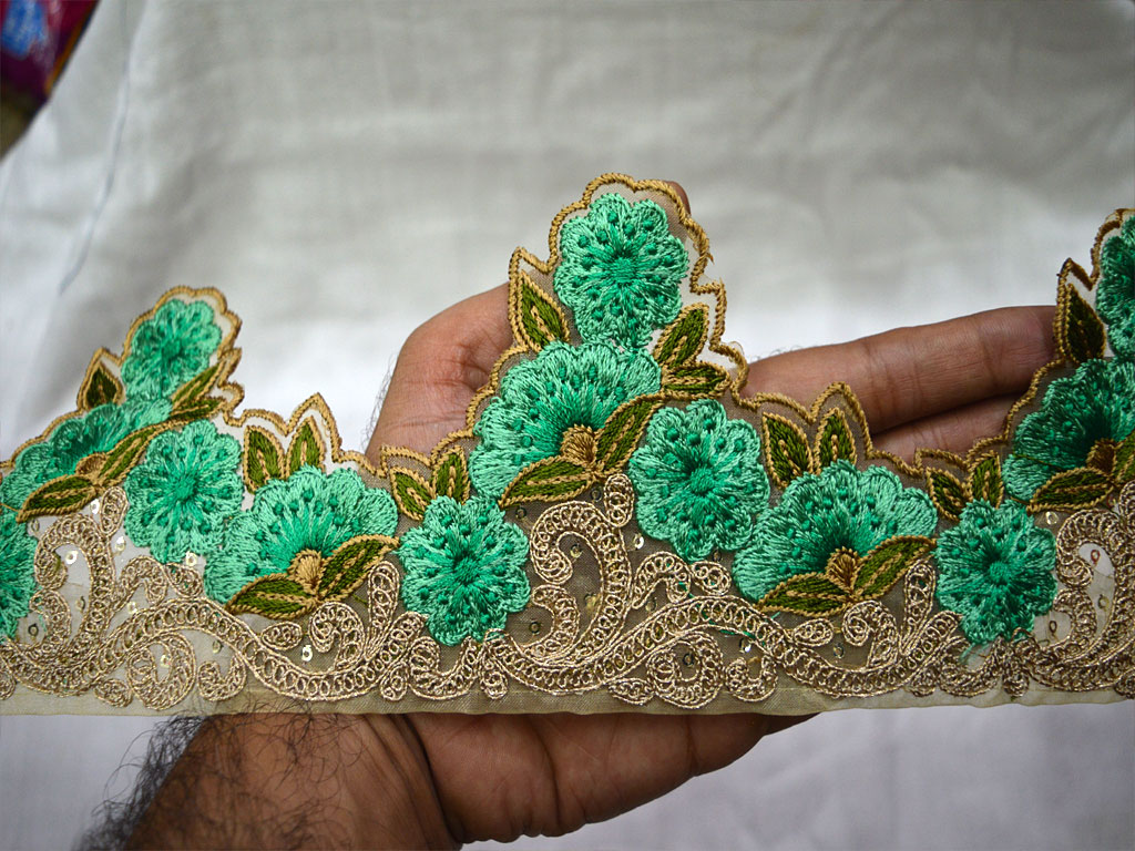 9 yard Wholesale Indian embroidered trimmings ribbon crafting sewing beach bags tape garment accessories decorative borders designer gown sea green fabric laces saree trim