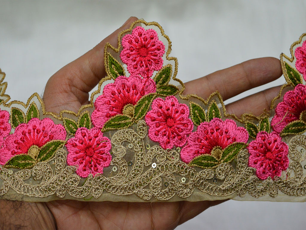 9 yard Wholesale Indian embroidery wear lace trims embroidered crafting sewing costumes wedding dresses clothing accessories Pink decorative kurtis embellishments fabric trim