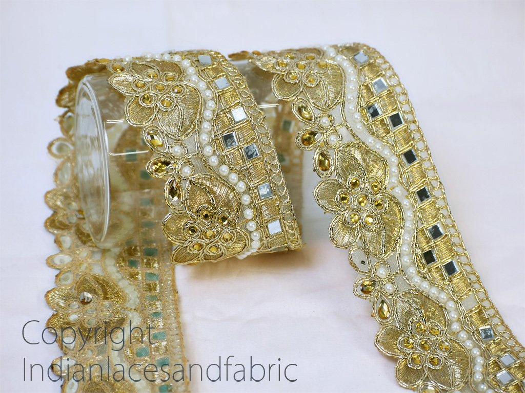 2 yard Indian Laces Beaded Pale Gold Kundan Metallic Ribbon Embellished Mirror work trimming Saree Online Designer Blouses borders decorative Stone Trims for Boutiques Dress Making tape
