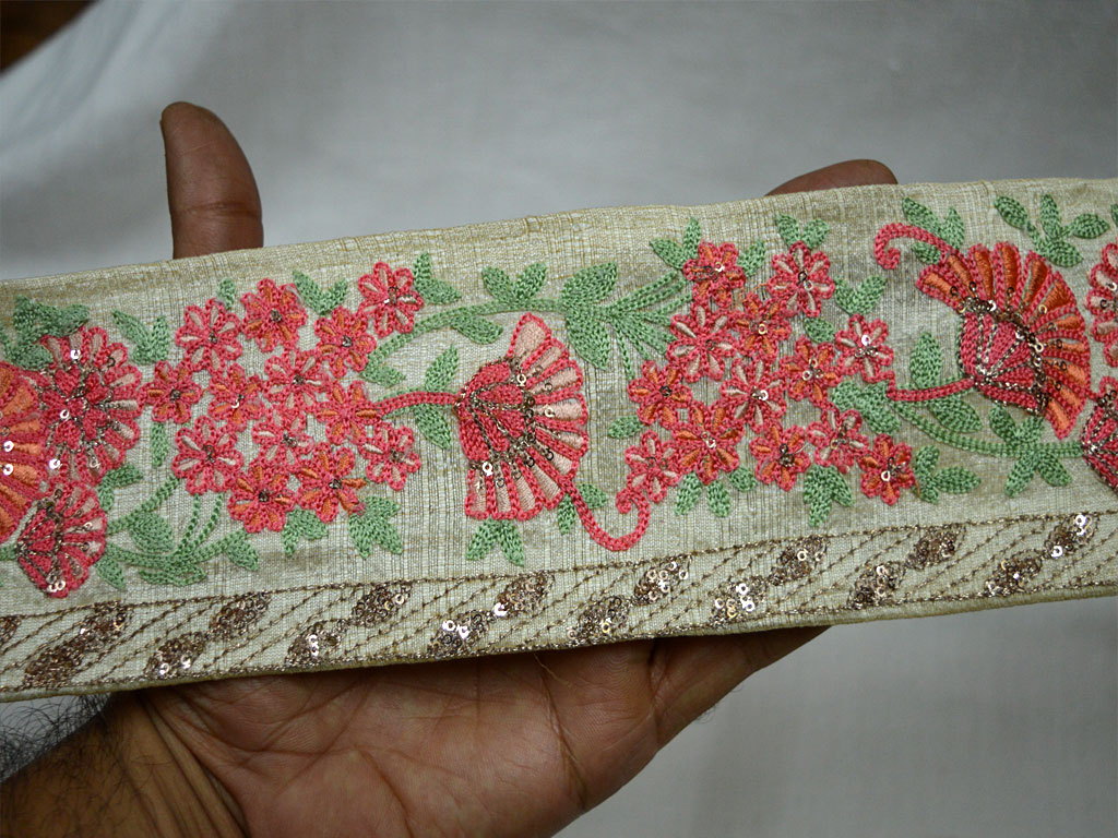 3.5 Beautiful Carrot Red and Orange Embroidered Floral Design On Off White Net Fabric Decorative Sewing Crafting Indian Trim by 9 Yard Wholesale Embellishment Fancy Clothing Accessories Home Decor