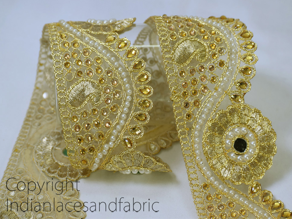 Metallic gold Ribbon Embellishment Traditional Gold Kundan Lace decorative Indian crafting trim by the yard beaded work trimming Wedding Costume Dresses Ribbon Crafting Sewing festive wear gown tape clothing accessories