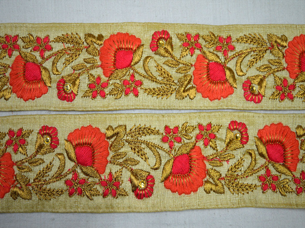 Bilateral Handicrafts Embroidered Net Lace Trim Ribbon Wholesale FP01 12 Yards