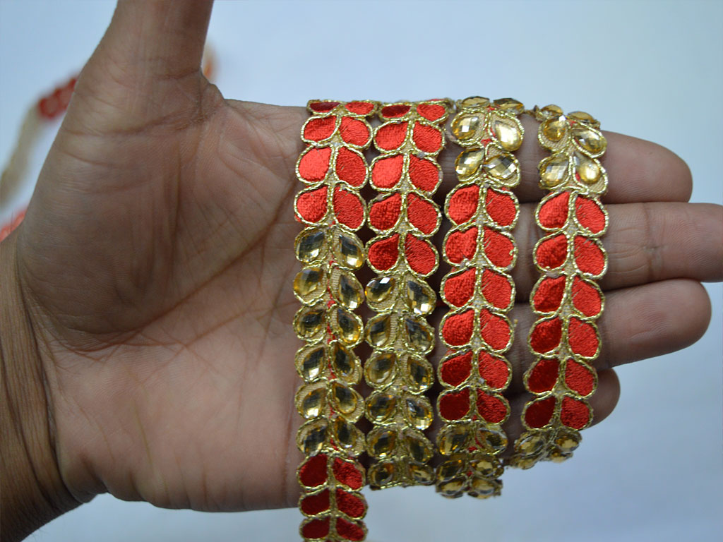 4 yard Decorative red gold kundan trim for dupatta wedding dresses border sewing crafting glass beaded lace embellishment designer home decoration ribbon costumes fashion tape gown trimmings