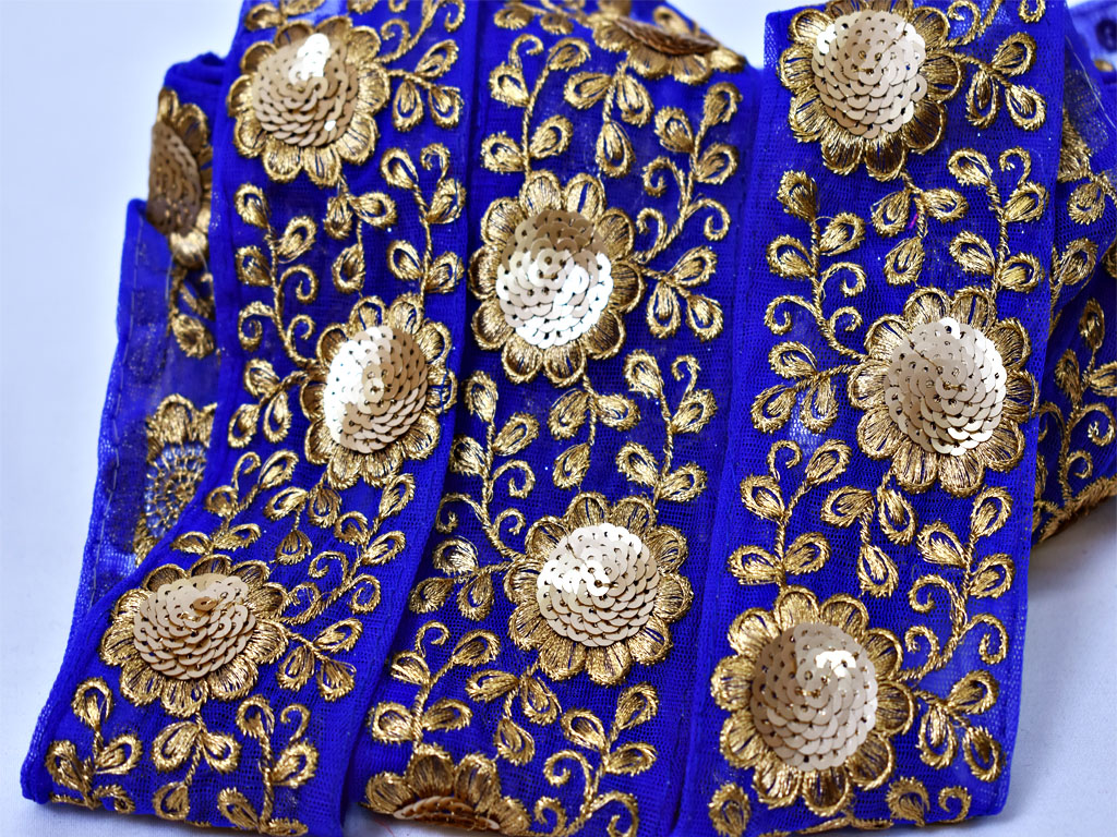 Wholesale Blue Decorative Sari Border Embellishment Trimming Fabric Trim By 9 Yard Embroidered Saree border Sewing Crafting Costume tape