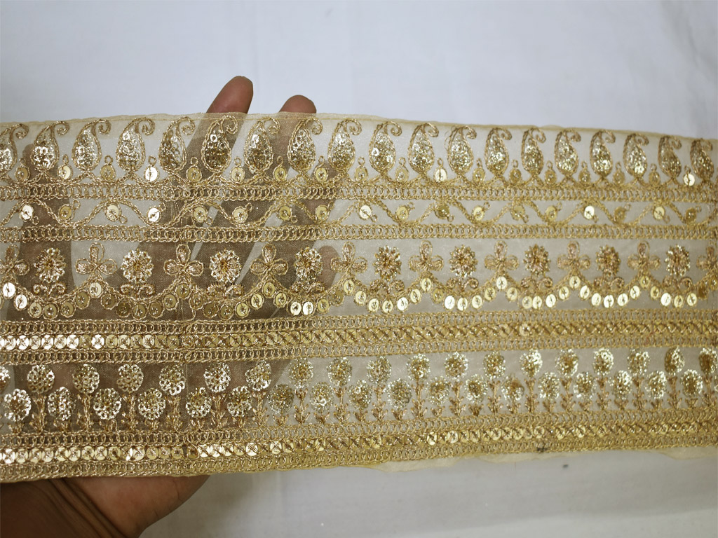 9 yard Wholesale sequins Indian decorative borders designer gown beige fabric gold laces saree trim embroidered trimmings ribbon crafting sewing beach bags tape garment accessories
