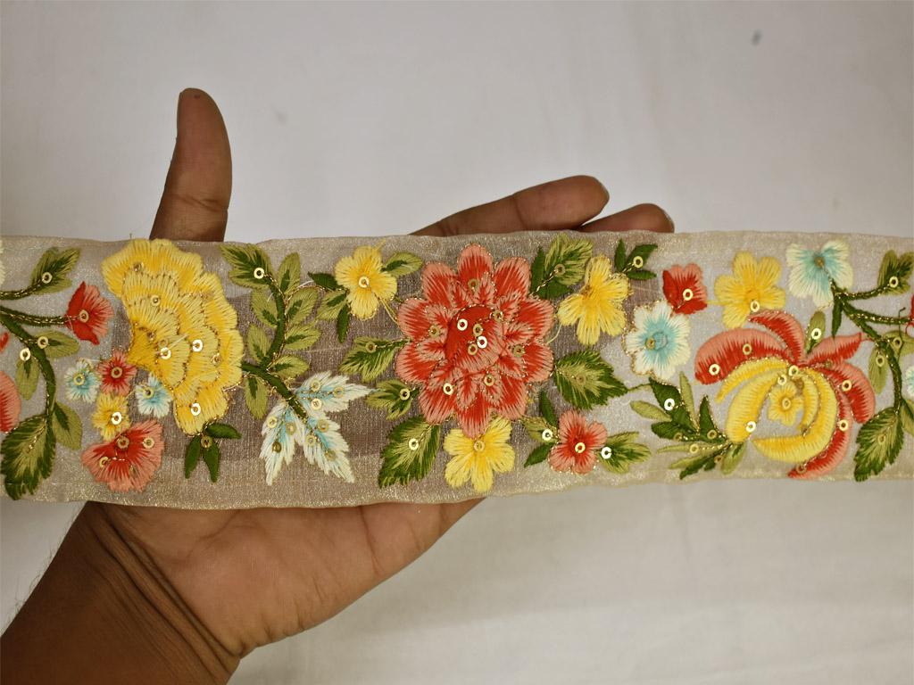 Indian Saree Trim 7 Yards Vintage Saree Trim Lace Craft Cloth Decorative Trim Saree Border Embroidered Saree Ribbon Designer Borders