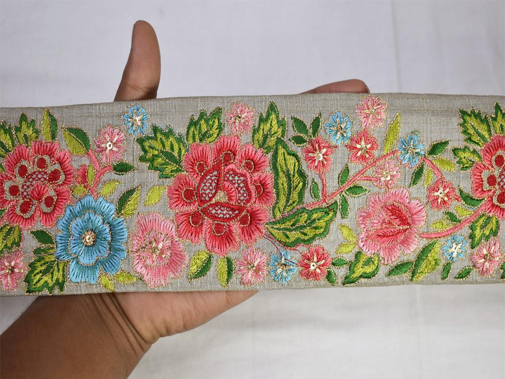 7 Yards Vintage Sari Trim Decorative Trim Saree Border Ethnic Embroidered Saree Ribbon Lace Craft Cloth Designer Borders Indian Saree Trim