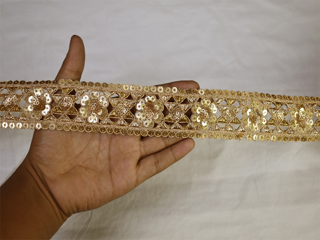 2 Yard Gold sequins work embroidery sewing crafting decorative indian trim embroidered saree border fabric trimming embellishment sari ribbon festive wear gown tape designing sewing blouses lace