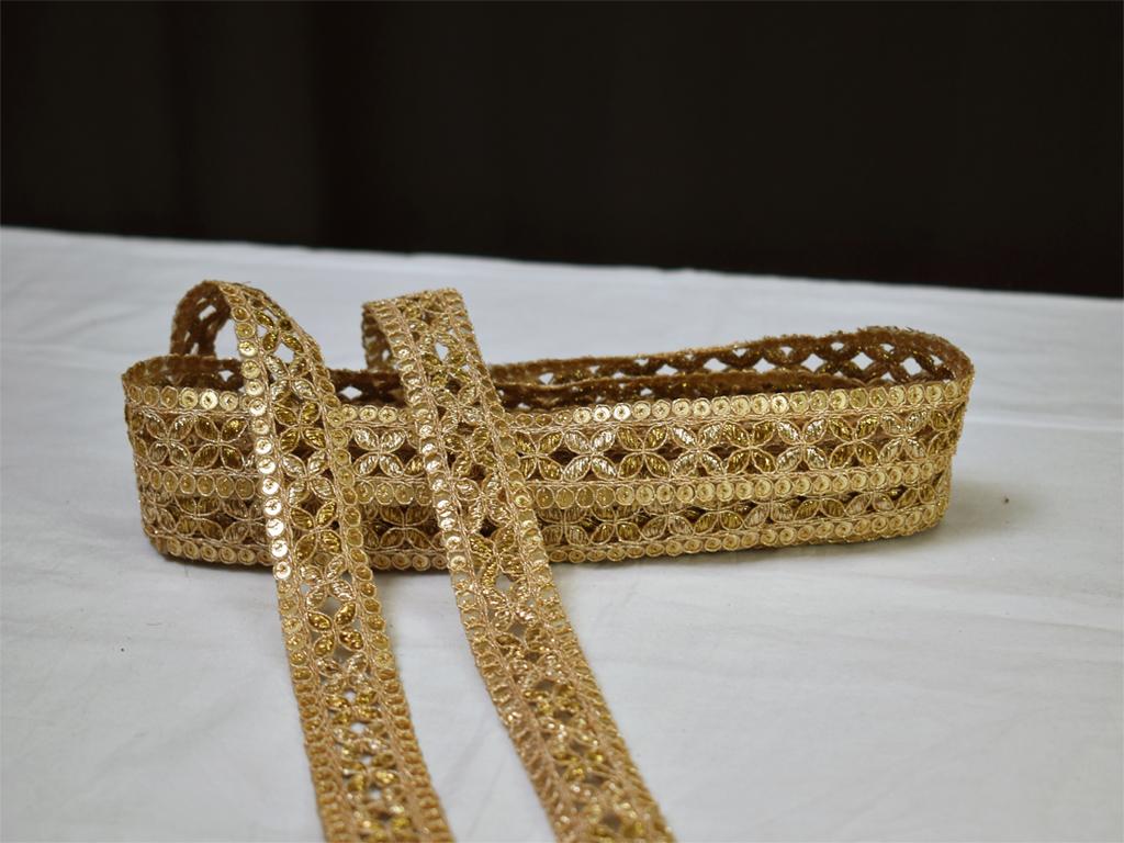 9 Yard Wholesale Gold Sequins Embroidered Lace Tape Trim Sari Border Decorative Saree Wedding Costume Dresses Ribbon Crafting Zari Border