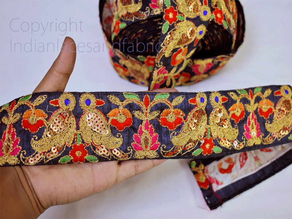 9 Yard wholesale gold sequins embroidery sari border crafting clutches ribbon table decoration Indian laces headband tape sewing accessory cushions trimmings decorative trim