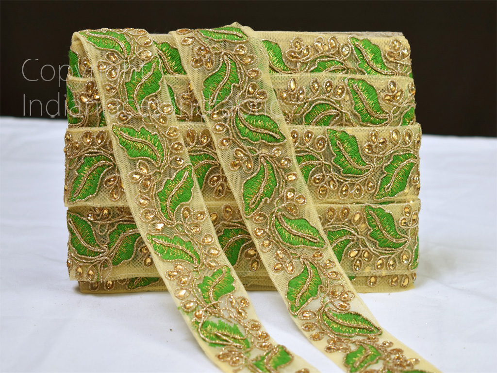 4 yard parrot green Indian decorative kundan saree border embroidered accessories sari trimmings sewing costume ribbon crafting Home Décor party wear gown dresses Tapes blouse material lace