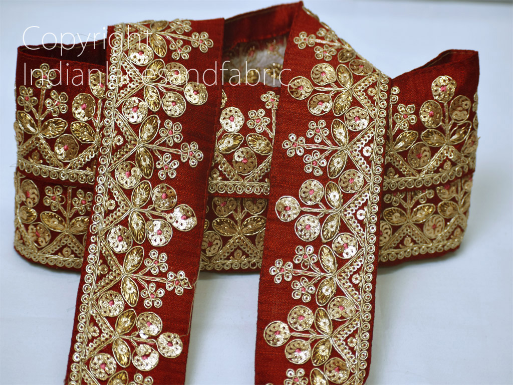 9 Yard wholesale floral Embroidered Decorative Maroon Sequins Lace Indian trim costume curtains clutches trimming Christmas decoration ribbon crafting sewing accessory home decor borders