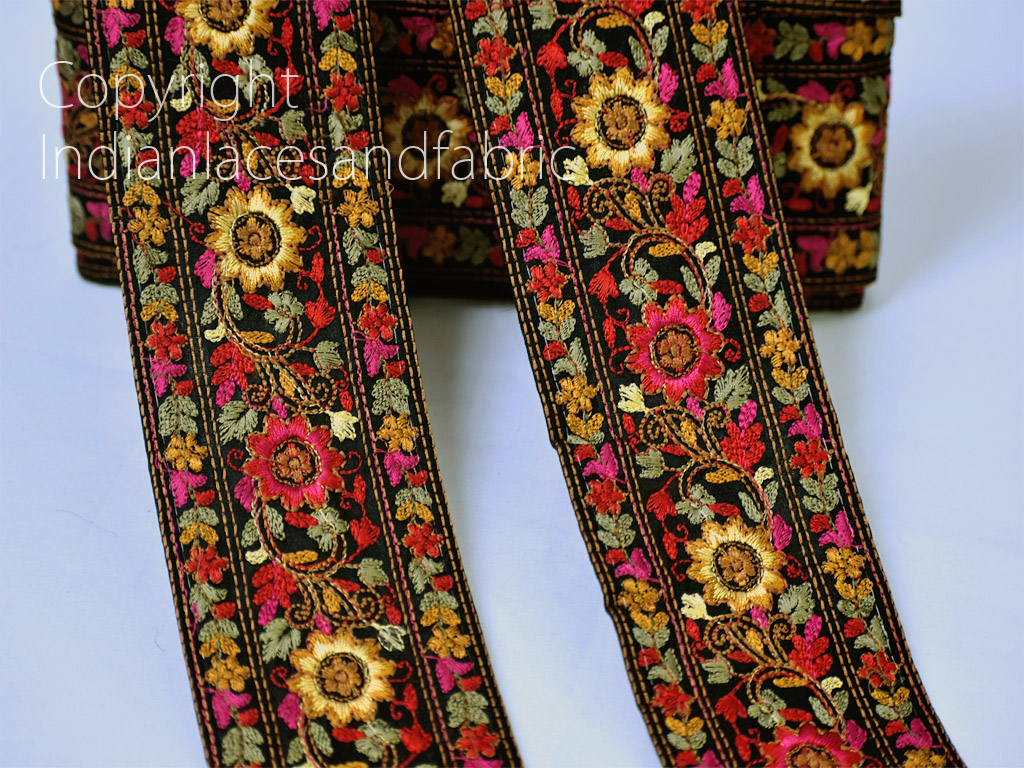 9 yard wholesale mustard yellow decorative Indian laces sari border dress gown material embroidered crafting ribbon trim sewing crafting accessory headband trimmings