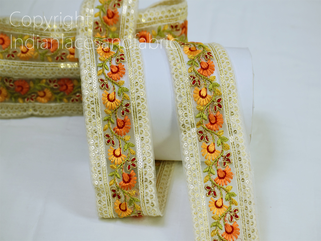 9 yard Wholesale orange laces embroidered saree border gown ribbon crafting dresses sewing beach bags hats curtain garment accessories dresses net fabric embroidered trimmings