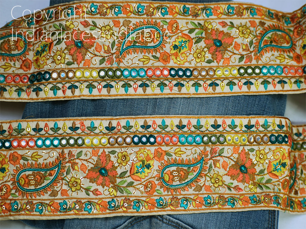 9 yard Indian Mirror Sequins Wholesale embroidered ribbon wedding lehenga tape decorative sari border crafting dresses trimmings sewing costume fabric trim décor purse lace