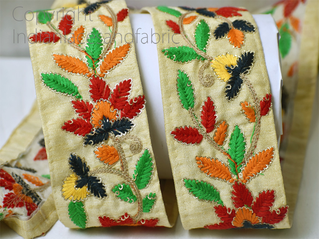 9 yard Wholesale beige embroidered trims saree decorative kurti border wedding gown tape décor dupattas lace embellishment embroidery sewing ribbon crafting dresses clothing accessories