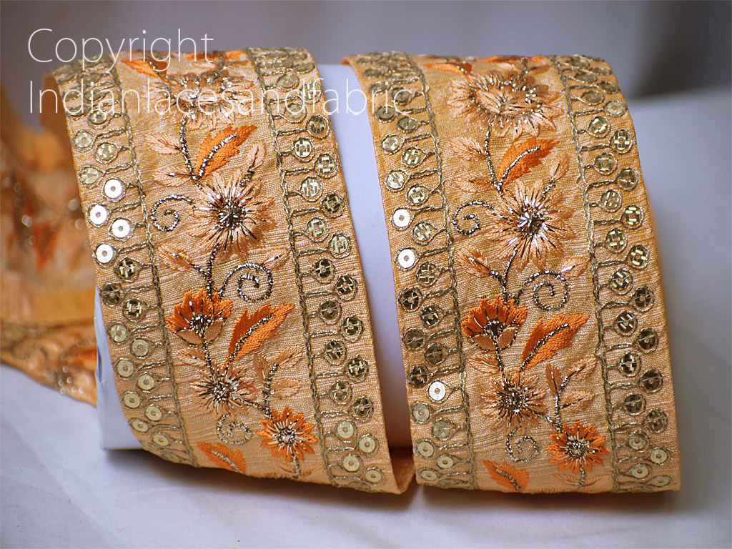 9 yard Wholesale peach wedding embroidered saree trimmings sari border decorative sewing laces embroidery costume border fabric embellishment Indian dupattas trim clothing accessories