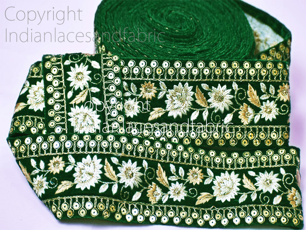 9 yard Wholesale Green Embroidery saree border velvet fabric embellishments tape dresses trimming Indian wear laces decorative dupattas borders embroidered trim
