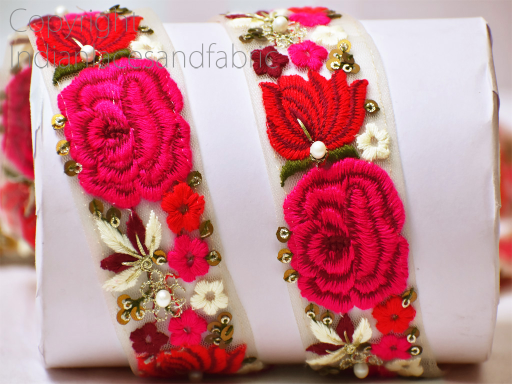9 yard Wholesale Embroidered trim decorative wedding costume trimmings crafting ribbon decorated tape sewing accessories birthday party dresses dupatta laces embroidery sari border
