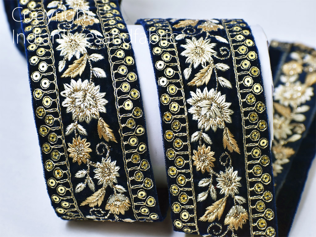 9 yard Wholesale embroidered costume ribbon blue trim decorative sequined dresses tape women suit embroidery trimmings dupatta lace sari border crafting garment accessories