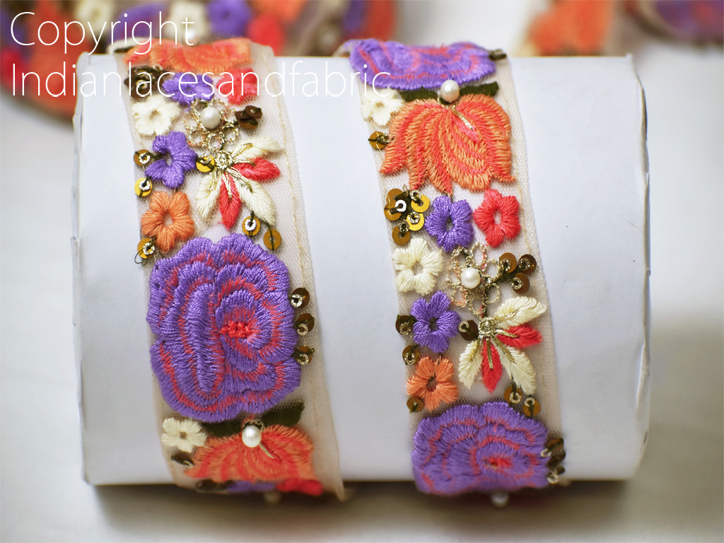 9 yard Wholesale Embroidery Indian costume laces wedding sari border embroidered craft trim cushion cover making tape embellishment trimmings sewing ribbon clothing accessories