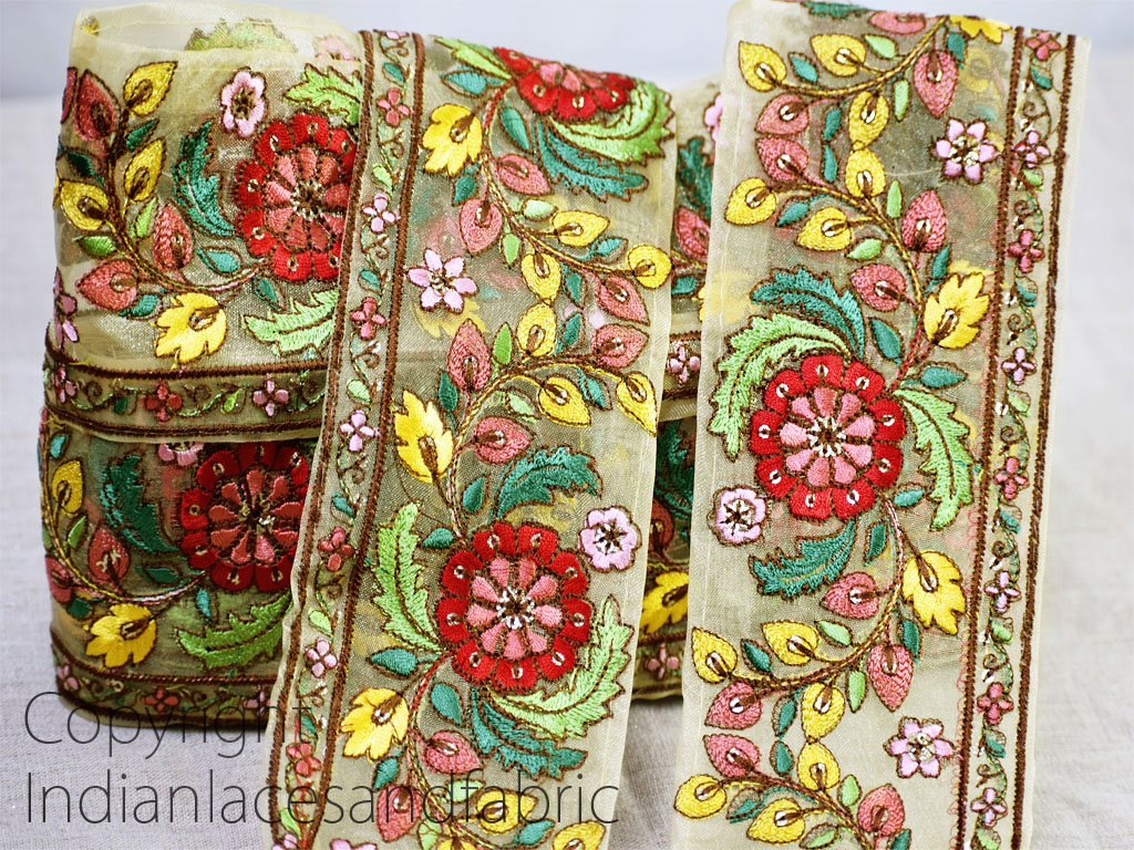 9 Yard Wholesale decorative costume Indian sari border crafting fabric beach bag cushion home décor trimming table runner party wear gown dresses tape embroidered saree sewing accessories trim