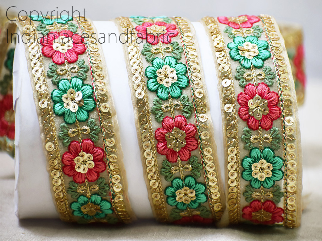 9 Yard Wholesale garment costume wedding sari border crafting tape sewing embroidered dresses trimming red embellishment embroidery dupatta tape decorative trim décor gown ribbon