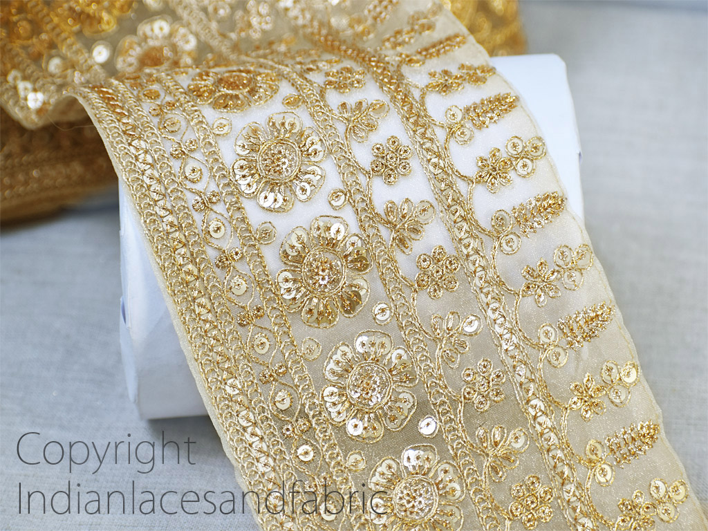9 Yard Wholesale Embroidered border decorative sequins dupattas tape trim zari thread sari embroidery crafting wear ribbon embellishments dresses ribbon thread Indian festive costume laces