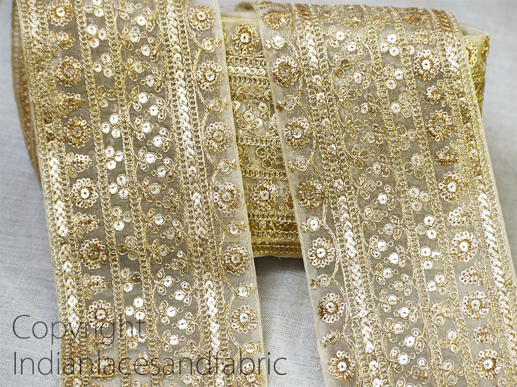 9 Yard Wholesale Embroidered decorative gold sequins work costume trim embroidery garment accessories embellishment dupatta lace Indian sari border crafting ribbon sewing bridal gown trimming
