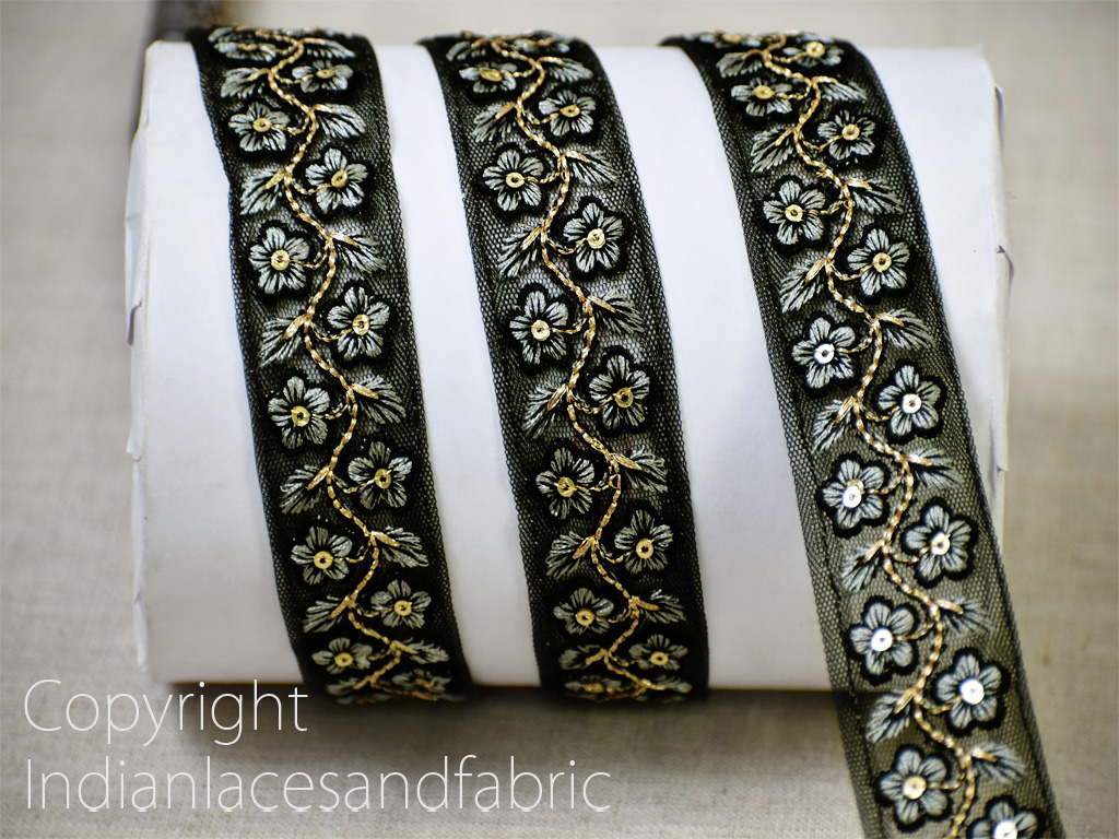9 yard wholesale black sari border embroidered lehenga trim diy crafting embroidery saree ribbons sewing accessories cushions curtain headband trimmings home decor wedding gown lace