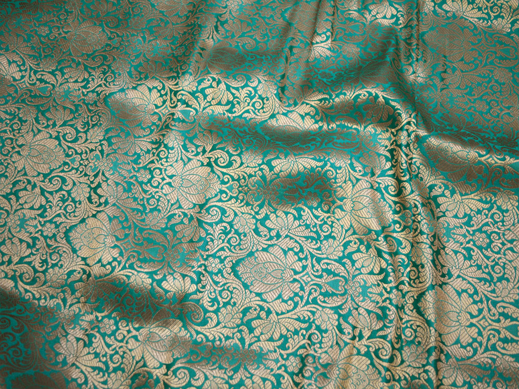 Brocade Fabric by the Metre Paisley Navy Turquoise