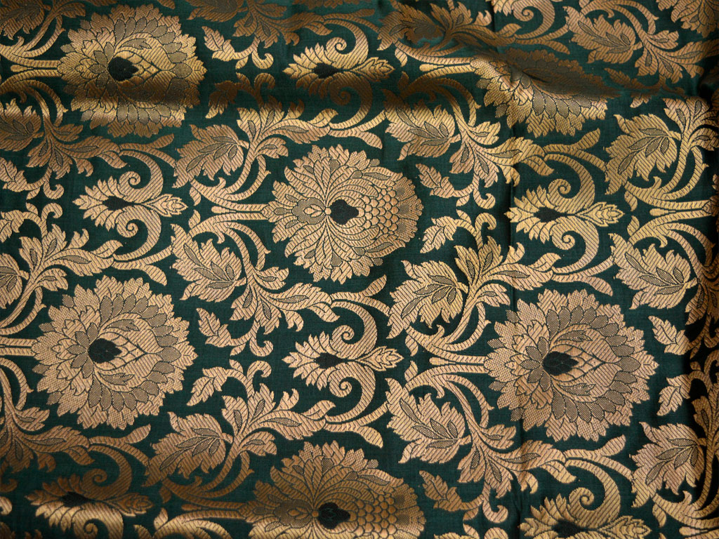 Silk Brocade Fabric Bottle Green Gold Banarasi Silk Brocade Fabric By The Yard Banaras Brocade Art