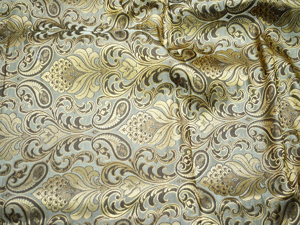 One yard  of Indian brocade fabric in aqua blue and gold paisley brocade fabricBenarasi brocade costume fabric